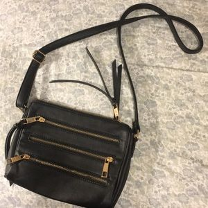 Black leather crossbody satchel